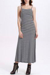 Fitted Backless Spaghetti Strap Striped Maxi Dress
