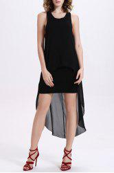 Chic Scoop Collar Sleeveless Black Design Women's Chiffon Dress - BLACK