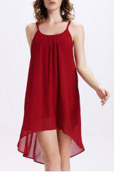 Chic Spaghetti Strap Backless Asymmetric Women's Chiffon Dress