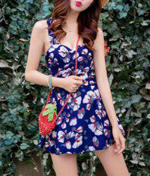 Sweet Floral Print Flounce Bodycon Women's One-Piece Swimsuit