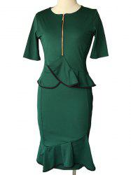 Short Sleeve Pencil Peplum Midi Dress With Sleeves