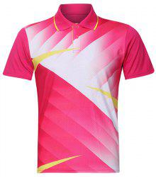 Men's Quick Dry Turn Down Collar Badminton Training T-Shirt - ROSE