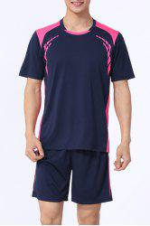 Splicing Men's Training Jersey Set (T-Shirt+Shorts) - SAPPHIRE BLUE M