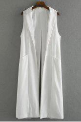 Stylish Lapel Pure Color Back Split Loose Women's Long Waistcoat -