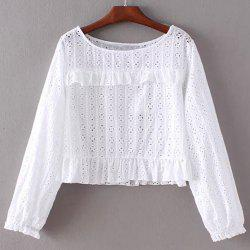 Chic Round Collar Pure Color Women's Lacework Blouse -