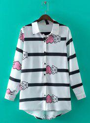 Casual Shirt Collar Long Sleeves Striped Hands Pattern Shirt For Women - WHITE L
