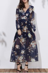 Floral Long Sleeve A Line Swing Dress