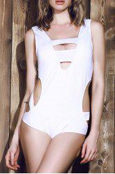 Novelty White Various Hollow Out Elastic One-Piece Swimwear For Women - WHITE 2XL