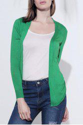 New Korea Irregular Hem Long Sleeve Cardigan Knit Sweater - GREEN