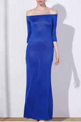 Chic Off-The-Shoulder 3/4 Sleeve Pure Color Women's Maxi Dress -