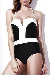 Stylish Strapless Color Block One-Piece Women's Swimwear -