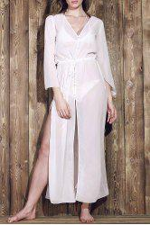 Long Sleeve Chiffon Maxi Cover Up Dress - WHITE ONE SIZE(FIT SIZE XS TO M)
