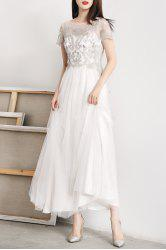 Tulle Embroidered Maxi Prom Dress -