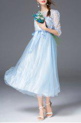 Embroidered Sheer Tulle Dress With Ribbon Waistband -