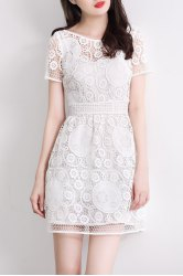 Boat Collar Hollow Out Mini Dress -