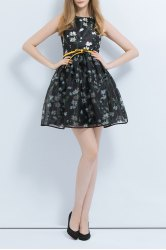 Floral Print Layered Ball Gown Dress -