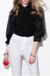 Puff Sleeve Collared Blouse -