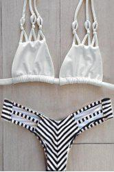 Stylish Halter Stripes Women's Bikini Set -