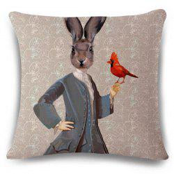 Stylish Mrs. Rabbit Pattern Square Shape Flax Pillowcase (Without Pillow Inner)
