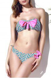 Trendy Bowknot Chevron Printed Bikini Set For Women