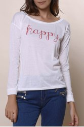Stylish Scoop Neck Long Sleeve Letter Print T-Shirt + Tank Top Women's Twinset