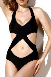 Halter Neck Cutout One Piece Monokini Swimsuit