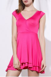 Women's Stylish Pink Plunging Neck A-Line Dress