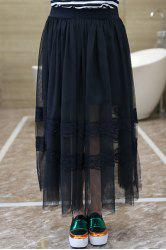 Stylish Plus Size Elastic Lace Spliced Solid Color Gauze Skirt For Women -