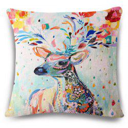 Stylish Deer Colored Painting Pattern Square Shape Flax Pillowcase (Without Pillow Inner) -