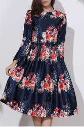 Vintage Floral Pleated Long Sleeve Midi Dress - DEEP BLUE