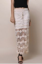 Crochet Lace Long Skirt - APRICOT