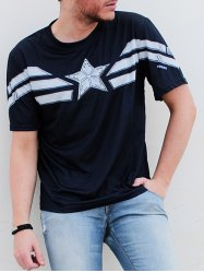Fashion Round Neck Slimming Color Block Captain America Design Short Sleeve Polyester T-Shirt For Men -