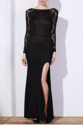 Elegant Slash Neck Long Sleeve Lace Splicing High Slit Women's Black Dress