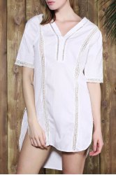 Brief V-Neck White Half Sleeve Blouse For Women