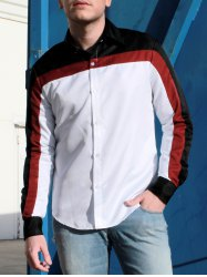 Fashion Shirt Collar Fitted Three Color Splicing Long Sleeve Polyester Shirt For Men -