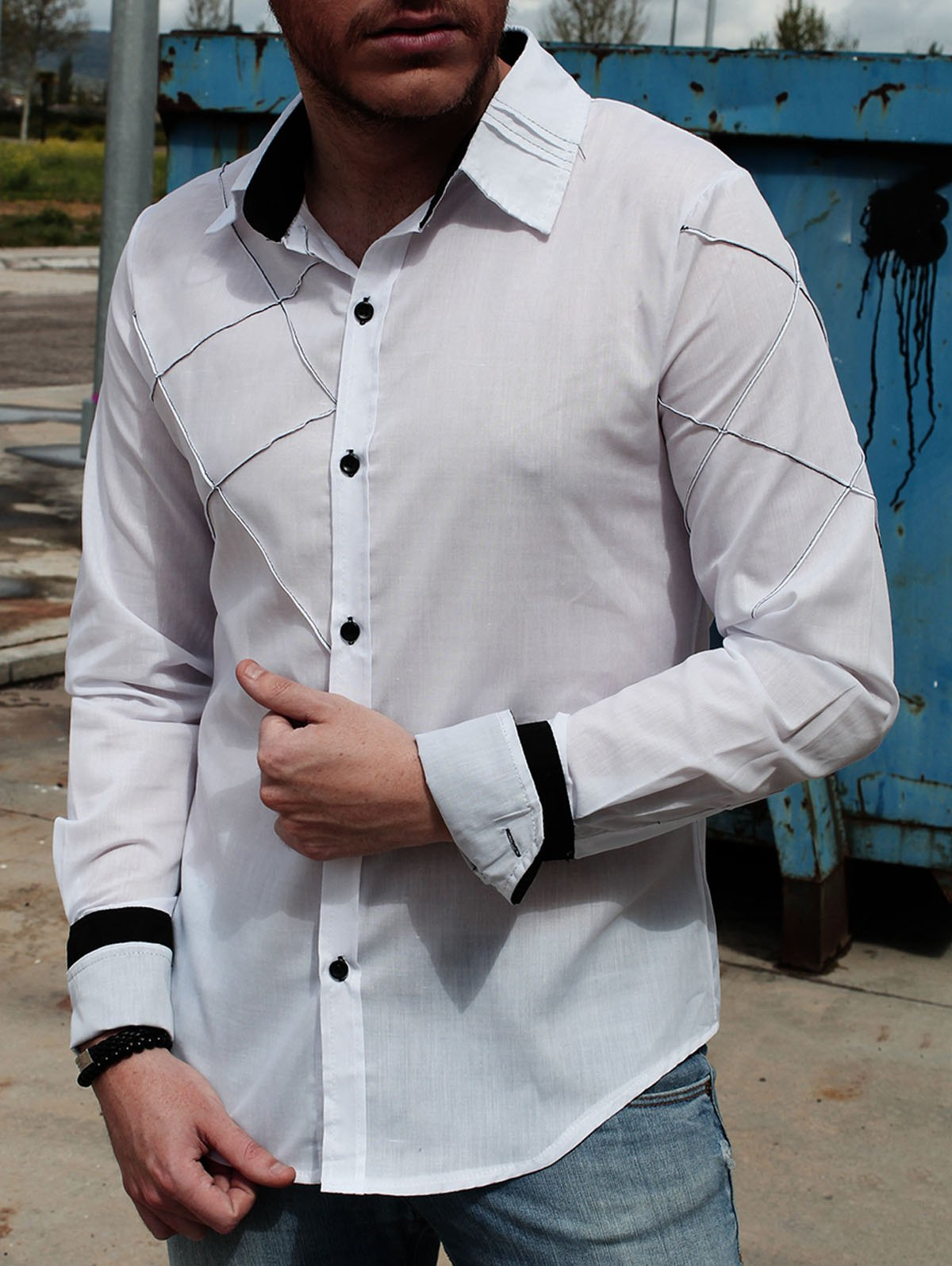 Chic Fashion Shirt Collar Slimming Checked Sutures Design Long Sleeve Polyester Shirt For Men
