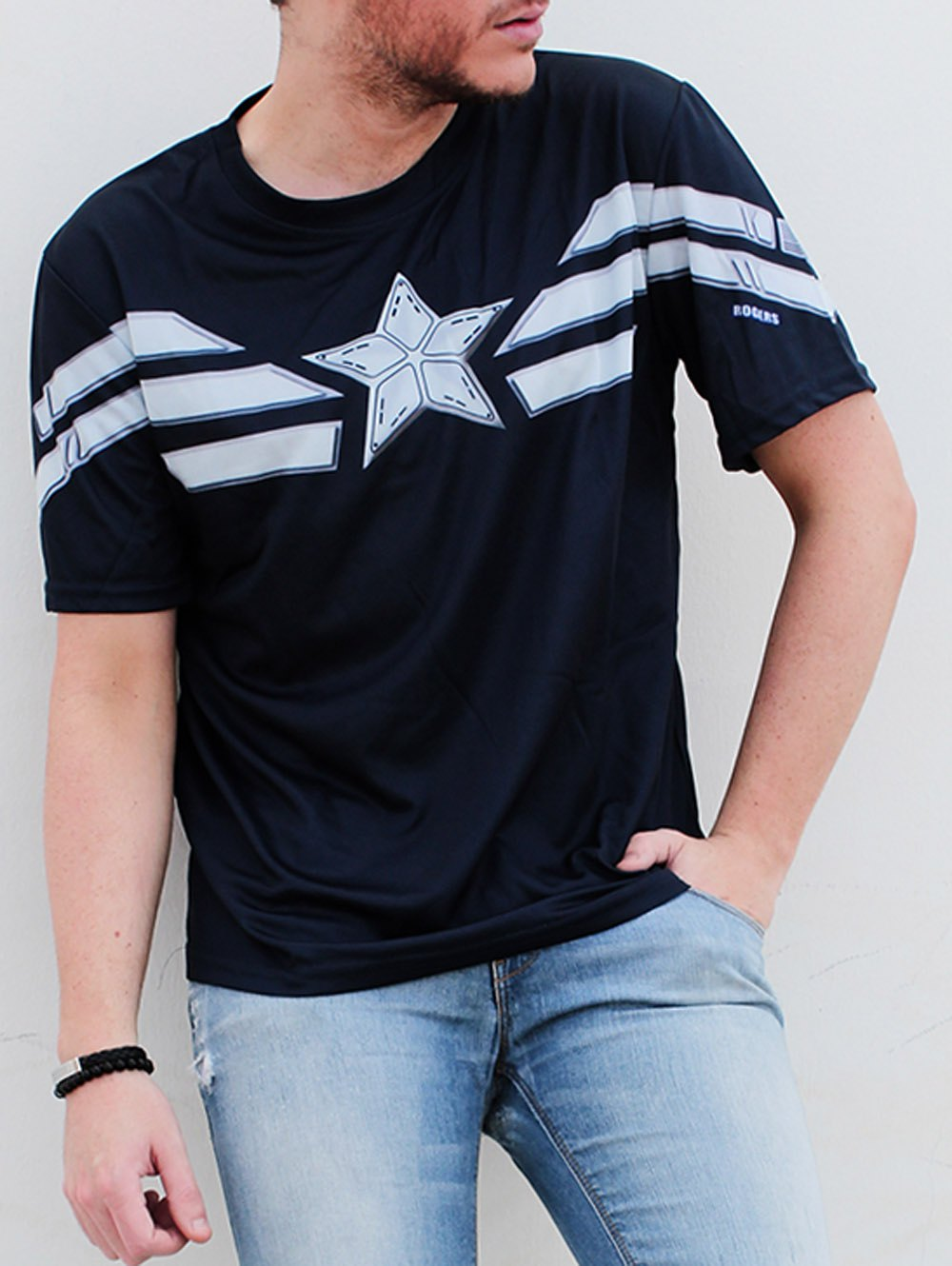 Shop Fashion Round Neck Slimming Color Block Captain America Design Short Sleeve Polyester T-Shirt For Men