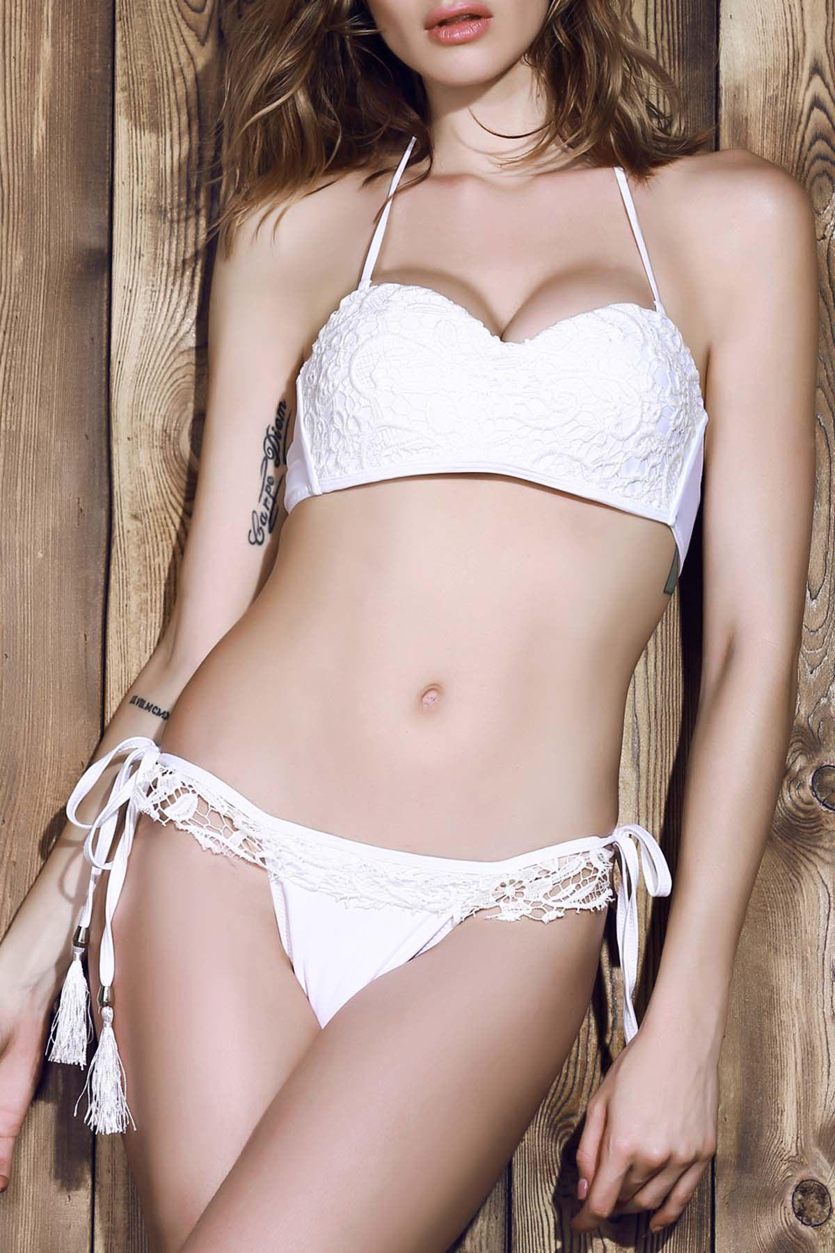 Best White Strapless Solid Color Lace Women's Bikini Set