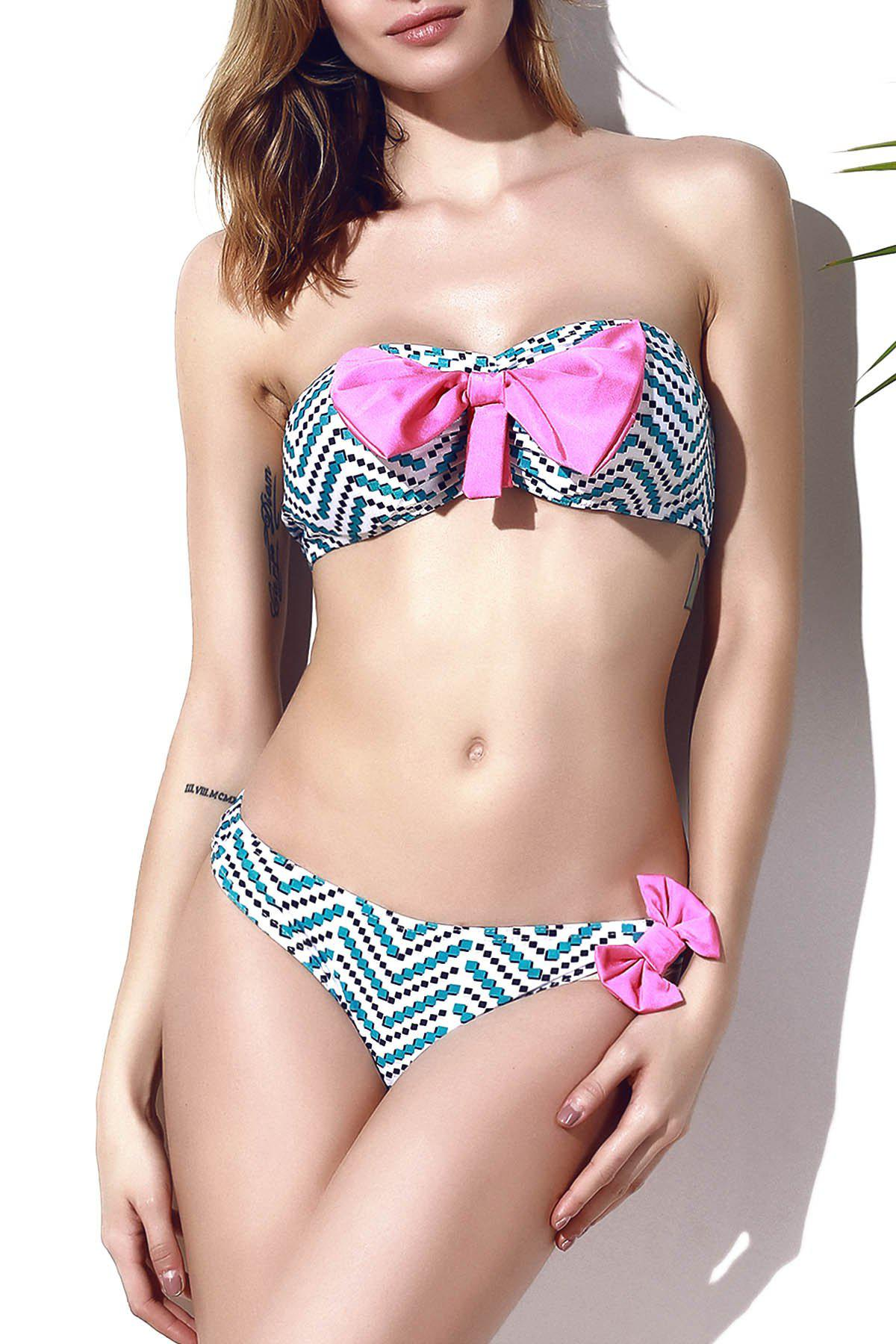 Store Trendy Bowknot Chevron Printed Bikini Set For Women
