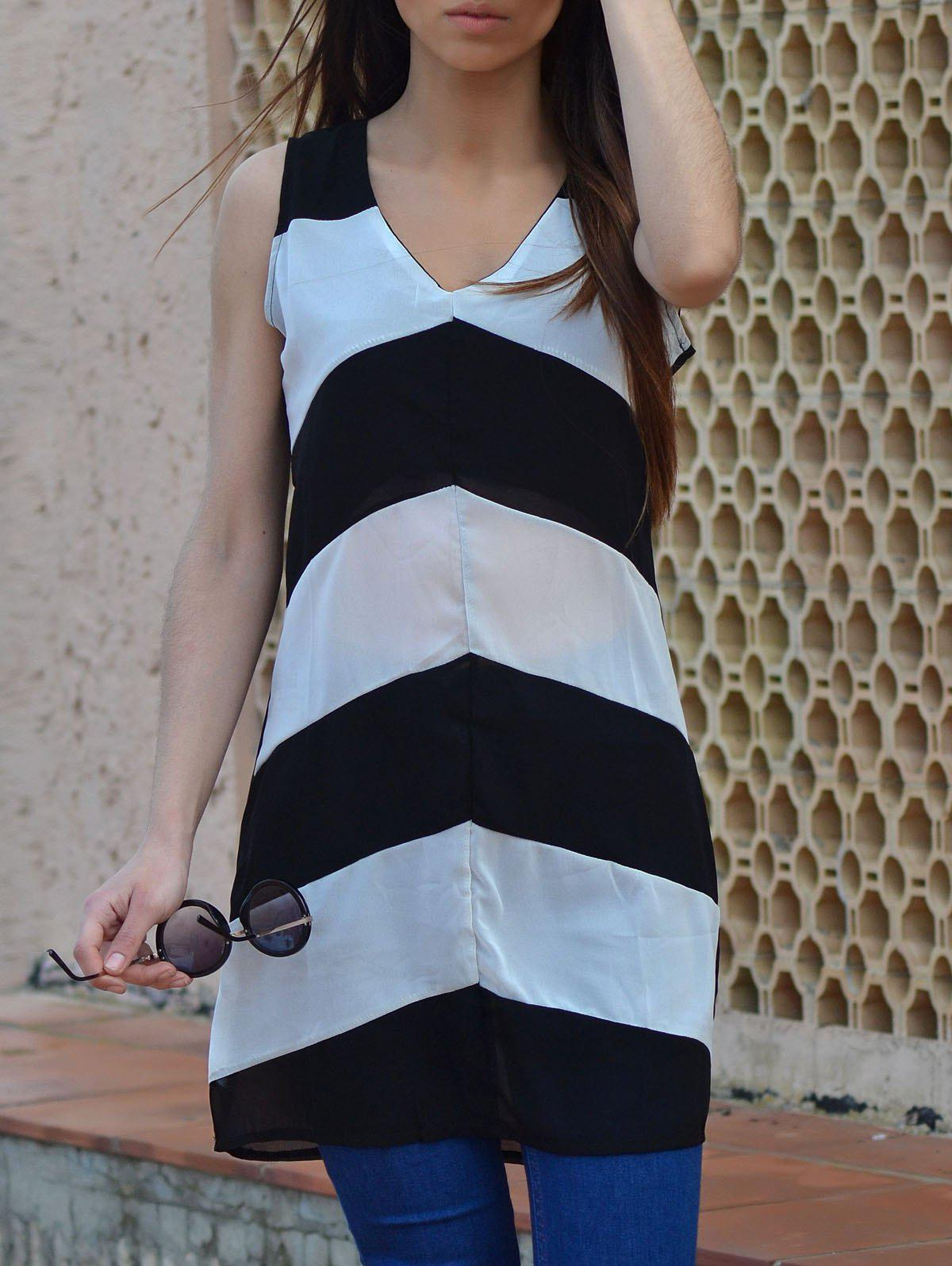 Fashion Sexy Plunging Neck Sleeveless Zig Zag Women's Dress