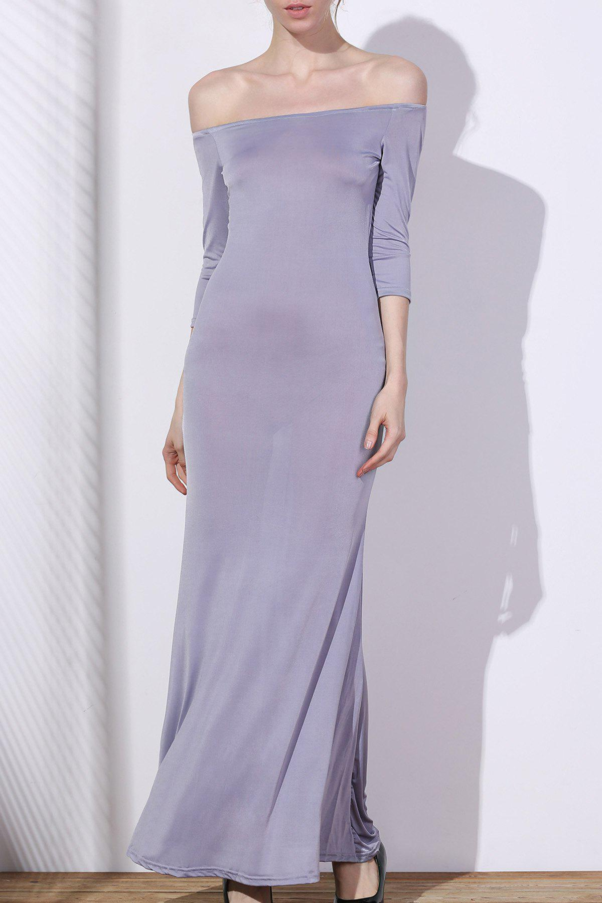 Latest Chic Off-The-Shoulder 3/4 Sleeve Pure Color Women's Maxi Dress