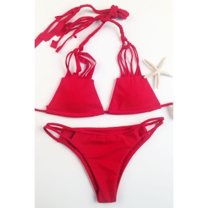 Stylish Solid Color Spaghetti Straps Bikini Set For Women