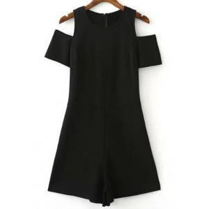 Jewel Neck Cold Shoulder Women's Romper