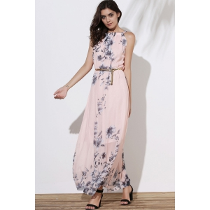 Floral Long Flowy Semi Maxi Formal Wedding Dress - PINK M
