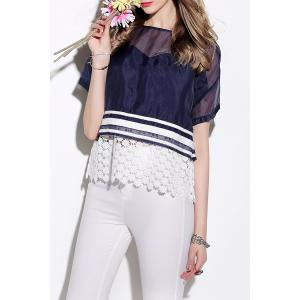 See-Through Lace Spliced Blouse -