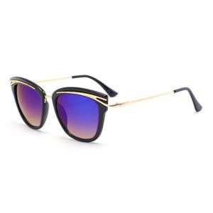 Audrey Hepburn Cat Eye Alloy Inlay Sunglasses - Deep Blue
