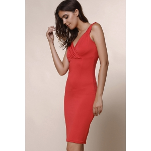 Trendy Plunging Neckline Solid Colour Sleeveless Dress For Women - WINE RED XL