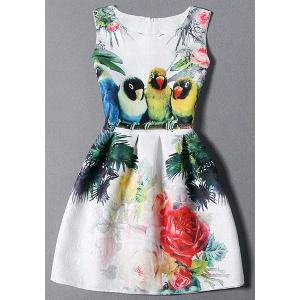 Sleeveless Birds and Floral Dress - White - M
