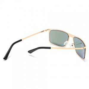 Stylish Hollow Out Golden Alloy Rectangle Frame Sunglasses For Men - AZURE