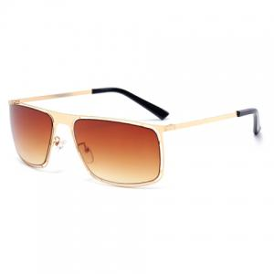 Stylish Hollow Out Golden Alloy Rectangle Frame Sunglasses For Men - TEA-COLORED